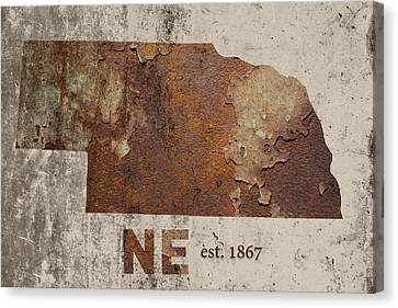 Nebraska State Map Industrial Rusted Metal On Cement Wall With Founding Date Series 039 Canvas Print by Design Turnpike