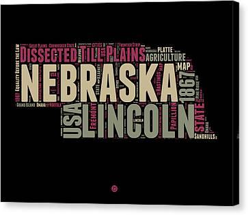 Nebraska Word Cloud 1 Canvas Print by Naxart Studio
