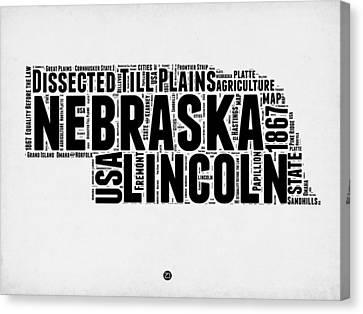 Nebraska Word Cloud 2 Canvas Print by Naxart Studio