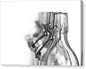 Stopper Canvas Print - Neck Of Glass Bottles With A Porcelain Stopper by Michal Boubin