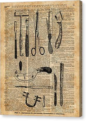 Necropsy Kits,anatomy Medical Instruments,surgery Decoration,dictionary Art,vintage Book Pag Canvas Print by Jacob Kuch