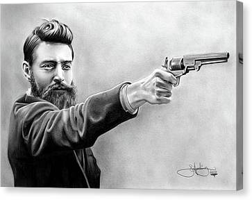 Ned Kelly Drawing Canvas Print by John Harding