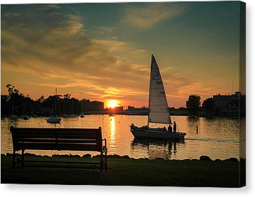 Canvas Print featuring the photograph Neenah Harbor Sunset by Joel Witmeyer
