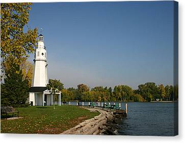 Canvas Print featuring the photograph Neenah Light House by Jack G  Brauer