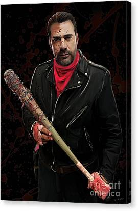 Negan With Blood Canvas Print by Paul Tagliamonte