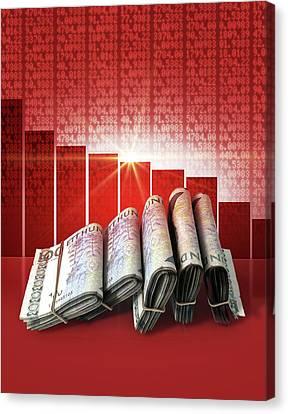 Negative Market Money Canvas Print
