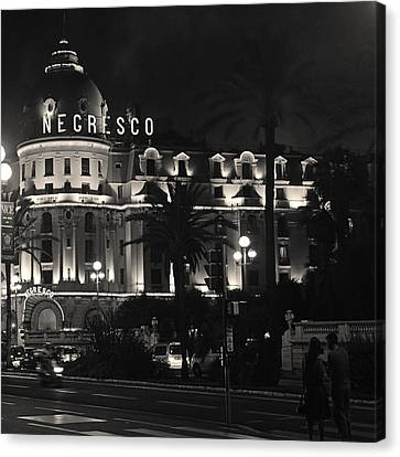Canvas Print featuring the photograph Negresco At Night by Ron Dubin