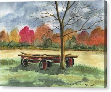 Neighbor Dons Old Wagon Canvas Print by Marsha Elliott