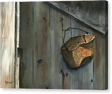 Neighbor Dons Rusted Kettle Canvas Print by Marsha Elliott