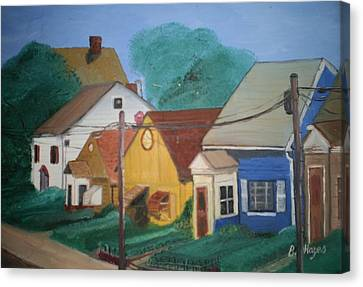 Canvas Print featuring the painting Neighbors by Barbara Hayes