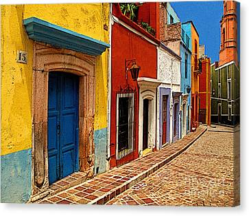 Neighbors Of The Yellow House Canvas Print by Mexicolors Art Photography
