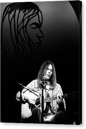 Canvas Print featuring the photograph Neil Young 1976 by Chris Walter