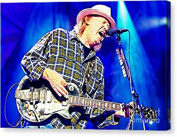 Neil Young In Concert Canvas Print by John Malone