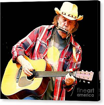 Man In The Moon Canvas Print - Neil Young by John Malone