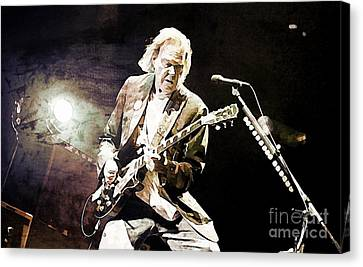 Neil Young Sepia And Textures Canvas Print by John Malone