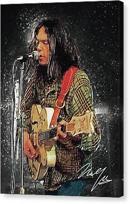 Canvas Print featuring the digital art Neil Young by Taylan Apukovska