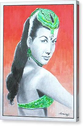 Nejla -- Retro Portrait Of Turkish Celebrity Canvas Print by Jayne Somogy