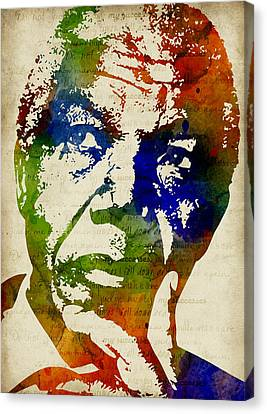 Nelson Mandela Watercolor Canvas Print by Mihaela Pater