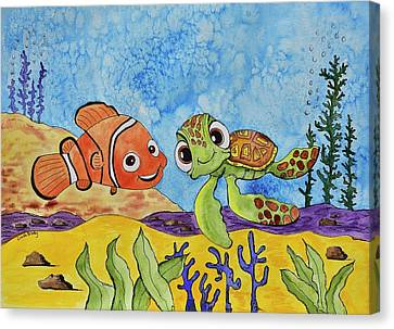 Nemo And Squirt Canvas Print