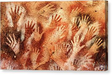 Neolithic Hand Prints Canvas Print by Anatole Beams
