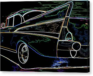 Neon 57 Chevy Bel Air Canvas Print
