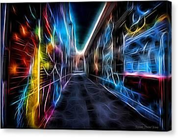 Neon Aleey Canvas Print by Michaela Preston