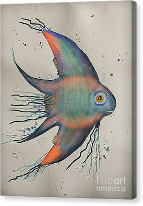 Canvas Print featuring the mixed media Neon Blue Fish by Walt Foegelle