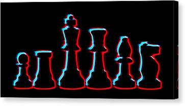 Neon Chess Pieces Canvas Print