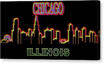 Neon Chicago Skyline Sign Canvas Print