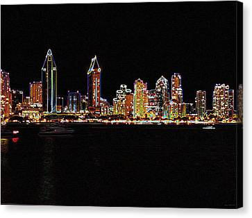 Reverse Art Canvas Print - Neon City by Evelyn Patrick