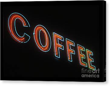 Canvas Print featuring the photograph Neon Coffee by Jim and Emily Bush