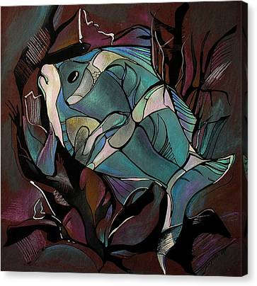 Neon Fish Canvas Print by Deyana Deco