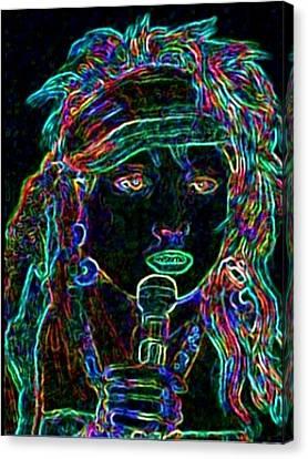 Biro Art Canvas Print - Neon Lady by Jerry  Stith