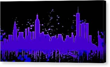 Statue Of Liberty Canvas Print - Neon New York City Skyline by Dan Sproul