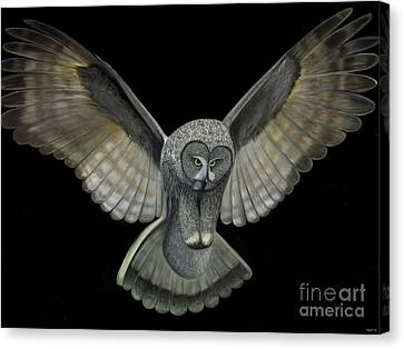 Canvas Print featuring the digital art Neon Owl by Rand Herron