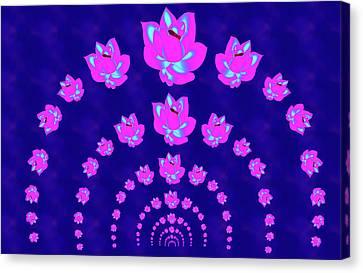 Neon Pink Lotus Arch Canvas Print