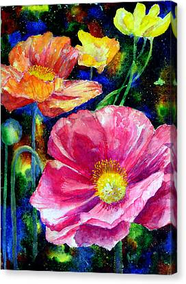 Neon Poppies Canvas Print by Mary Giacomini