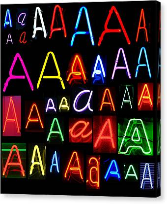 Neon Series Letter A Canvas Print by Michael Ledray