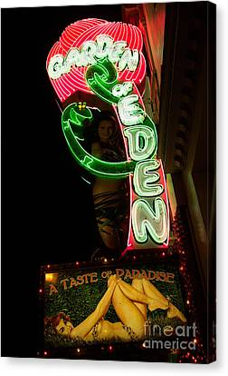 Canvas Print featuring the photograph Neon Sign At Night In North Beach San Francisco 1 by Jason Rosette