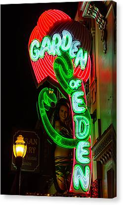 Neon Sign Garden Of Eden Canvas Print by Garry Gay