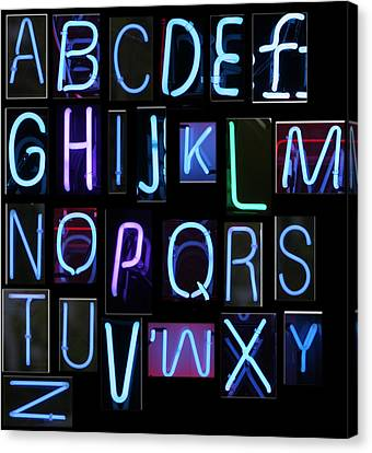 Neon Sign Series Featuring The Alphabet In Blue Canvas Print by Michael Ledray