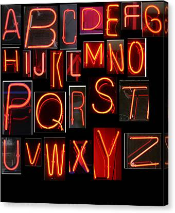 Neon Sign Series Featuring The Alphabet In Red Canvas Print by Michael Ledray