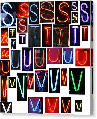 neon sign series letters S through V Canvas Print by Michael Ledray