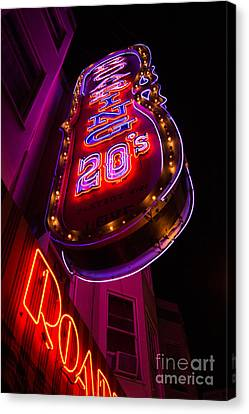 Canvas Print featuring the photograph Neon Signs At Night In North Beach Low Angle Ve by Jason Rosette