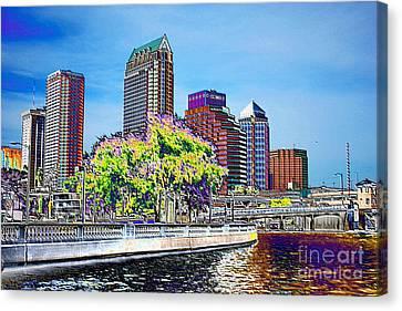 Neon Tampa Canvas Print by Carol Groenen