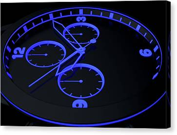 Neon Watch Face Canvas Print by Allan Swart