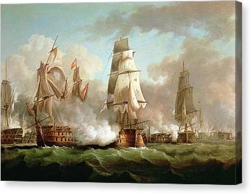 Neptune Engaged At The Battle Of Trafalgar Canvas Print by J Francis Sartorius