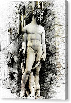 Florence Canvas Print - Neptune Statue In Florence - By Diana Van by Diana Van