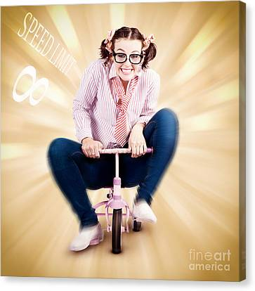Nerd Breaking The Speed Of Sound On Kids Bicycle Canvas Print