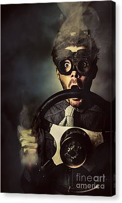 Nerd Business Man In A Fast Race Competition Canvas Print